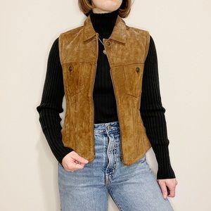 Vintage Nubuck Brown Vest Zip Up Collar 90's Cool